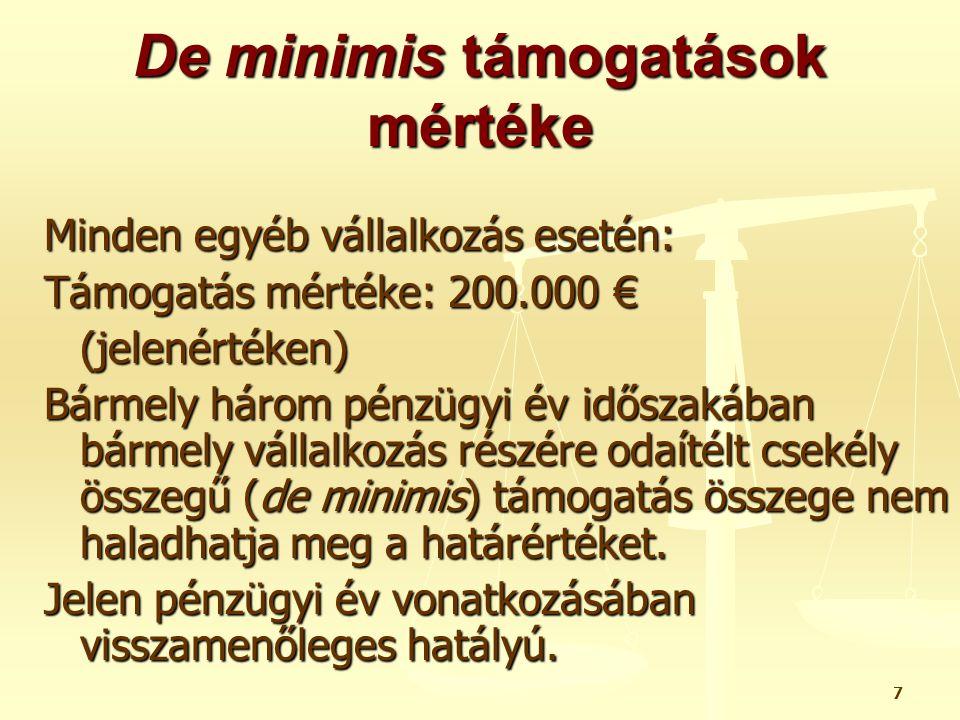 28 De minimis támogatások fajtái VI.