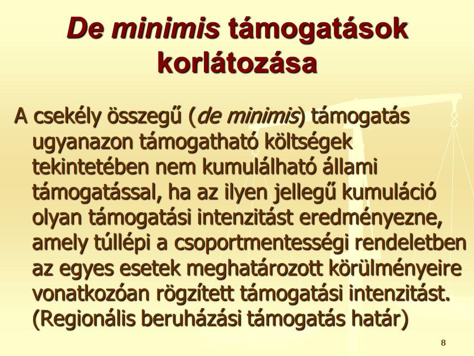 29 De minimis támogatások fajtái támogatási mód szerint a.) Közvetlenül kapott támogatás - Dátuma: amikor a támogatás igénybevételének jogát a kedvezményezett- re ruházzák (odaítélésének dátuma) - Árfolyam: A támogatási kérelem benyújtásának napját megelőző hónap utolsó napján érvényes MNB deviza árfolyam szerint számolva.