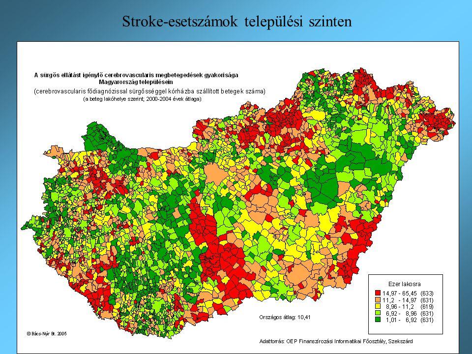 Stroke-esetszámok települési szinten Szerepe: a településekre számított össz-eljutási idők országos összegzéséhez súlytényezőként szükséges szerepelte