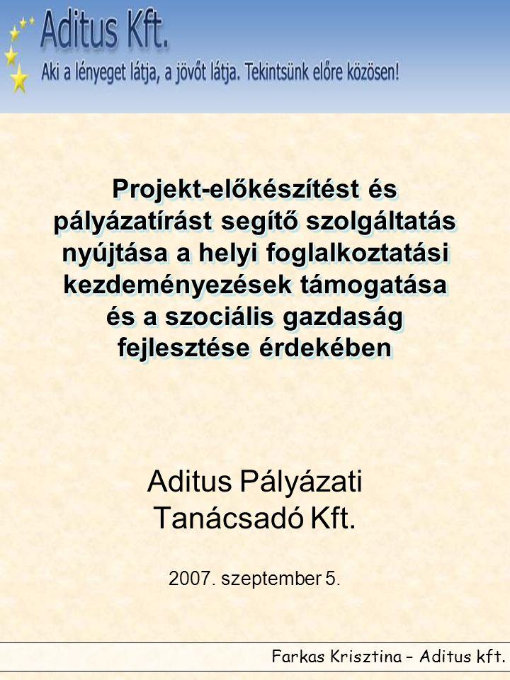 Farkas Krisztina – Aditus kft. Projekt-előkészítést és pályázatírást segítő szolgáltatás nyújtása a helyi foglalkoztatási kezdeményezések támogatása é