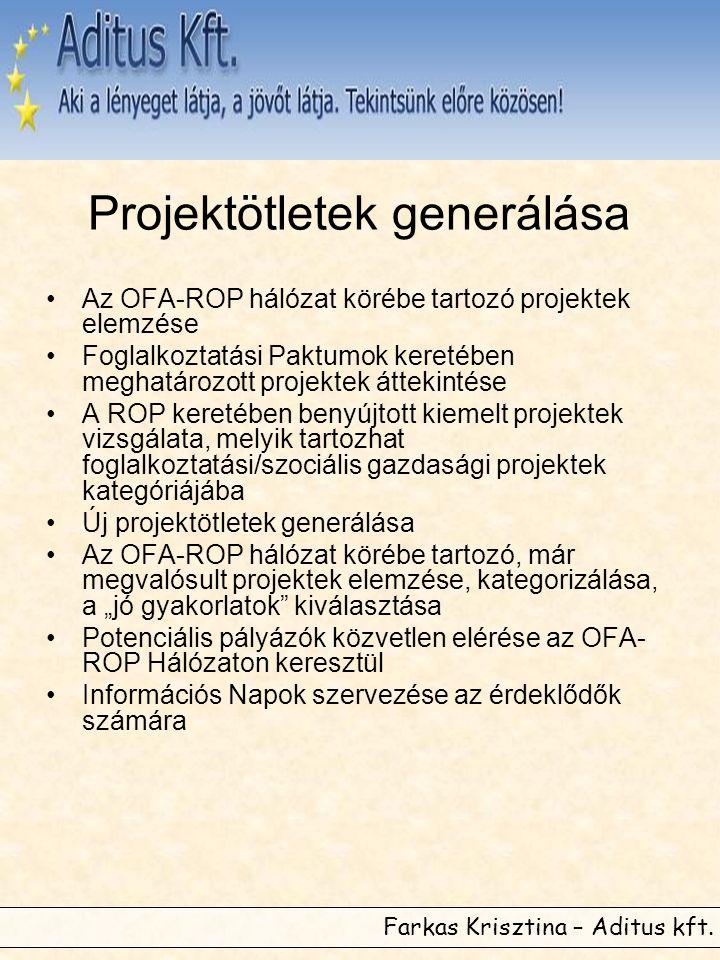 Projektötletek generálása •Az OFA-ROP hálózat körébe tartozó projektek elemzése •Foglalkoztatási Paktumok keretében meghatározott projektek áttekintés