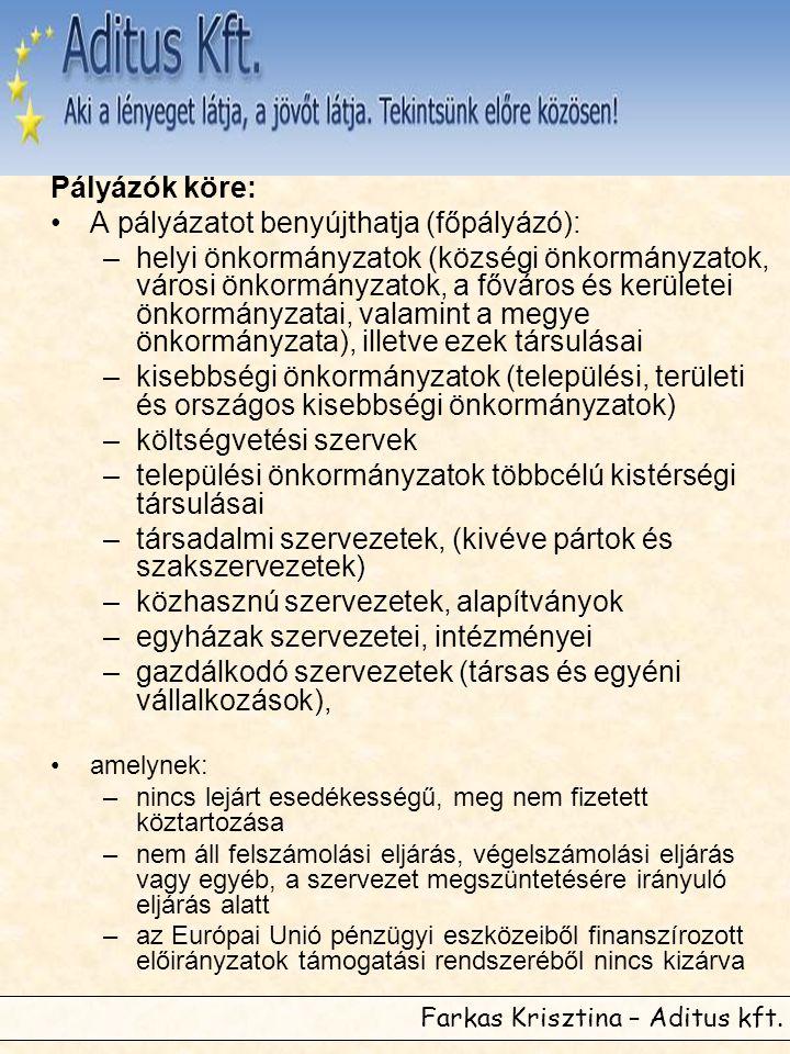 Farkas Krisztina – Aditus kft. Pályázók köre: •A pályázatot benyújthatja (főpályázó): –helyi önkormányzatok (községi önkormányzatok, városi önkormányz