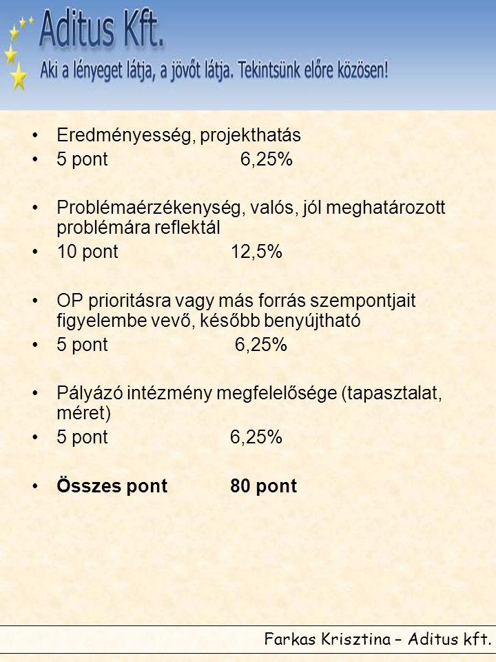 Farkas Krisztina – Aditus kft. •Eredményesség, projekthatás •5 pont 6,25% •Problémaérzékenység, valós, jól meghatározott problémára reflektál •10 pont