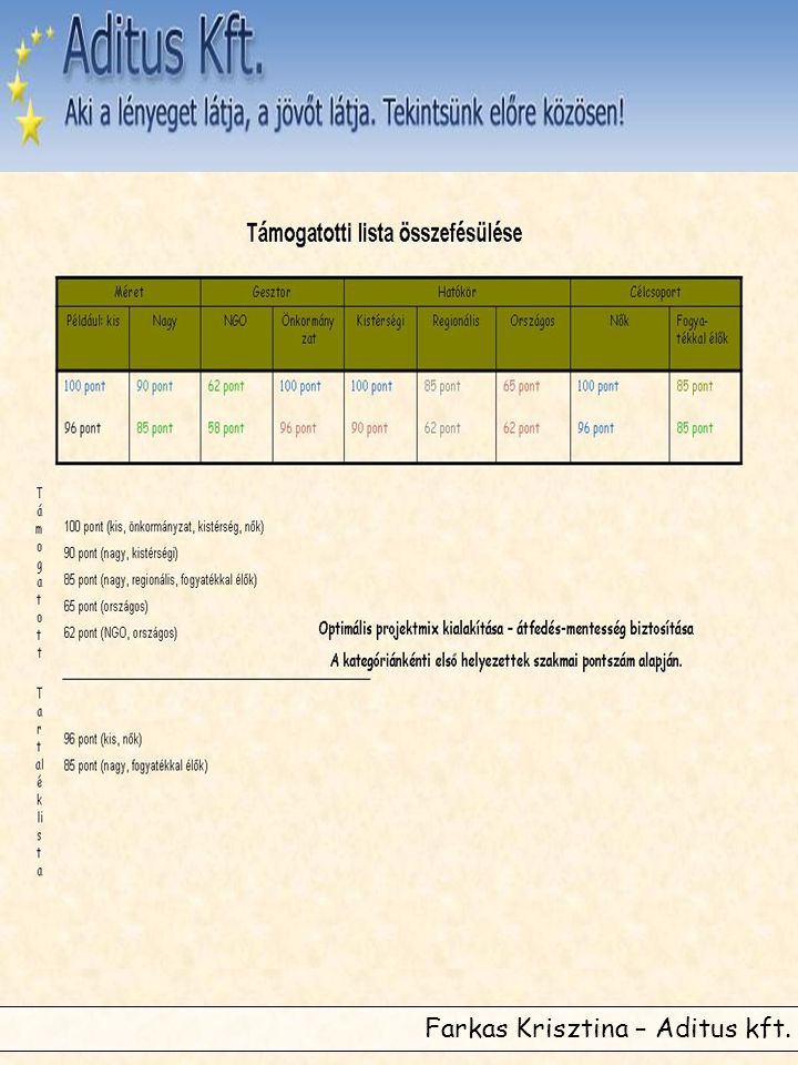 •Horizontális szempontok vizsgálata: célja az Optimális Projektmix létrehozása •Szempontok: –Méret –Gesztor típusa –Hatókör –Célcsoport •Minden kategóriából az első kerül be a támogatható körbe