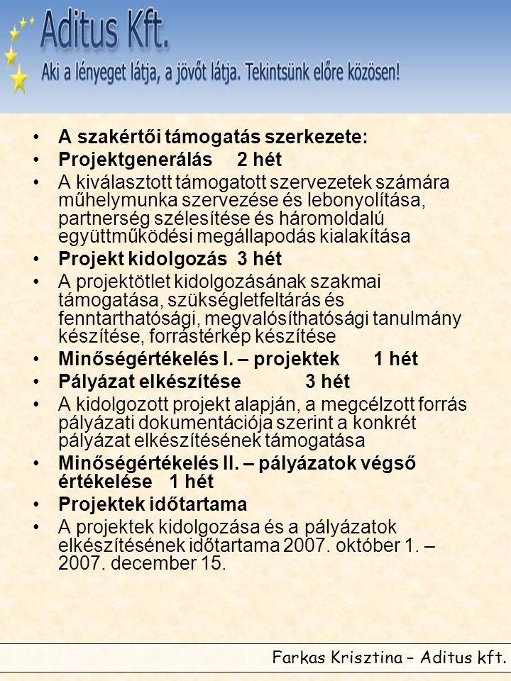 Farkas Krisztina – Aditus kft. •A szakértői támogatás szerkezete: •Projektgenerálás2 hét •A kiválasztott támogatott szervezetek számára műhelymunka sz