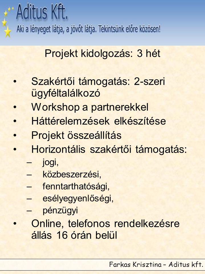 Farkas Krisztina – Aditus kft. Projekt kidolgozás: 3 hét •Szakértői támogatás: 2-szeri ügyféltalálkozó •Workshop a partnerekkel •Háttérelemzések elkés