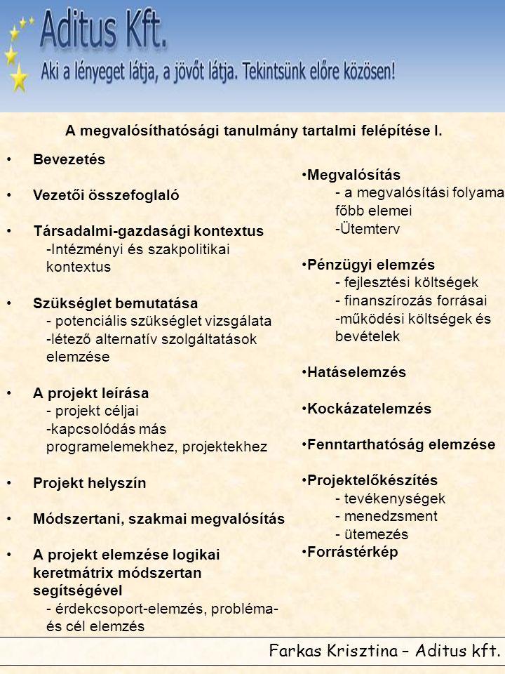 Farkas Krisztina – Aditus kft. A megvalósíthatósági tanulmány tartalmi felépítése I. •Bevezetés •Vezetői összefoglaló •Társadalmi-gazdasági kontextus