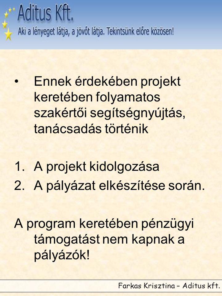Farkas Krisztina – Aditus kft. •Ennek érdekében projekt keretében folyamatos szakértői segítségnyújtás, tanácsadás történik 1.A projekt kidolgozása 2.