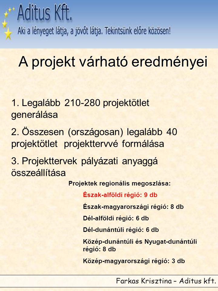 Farkas Krisztina – Aditus kft. 1. Legalább 210-280 projektötlet generálása 2. Összesen (országosan) legalább 40 projektötlet projekttervvé formálása 3