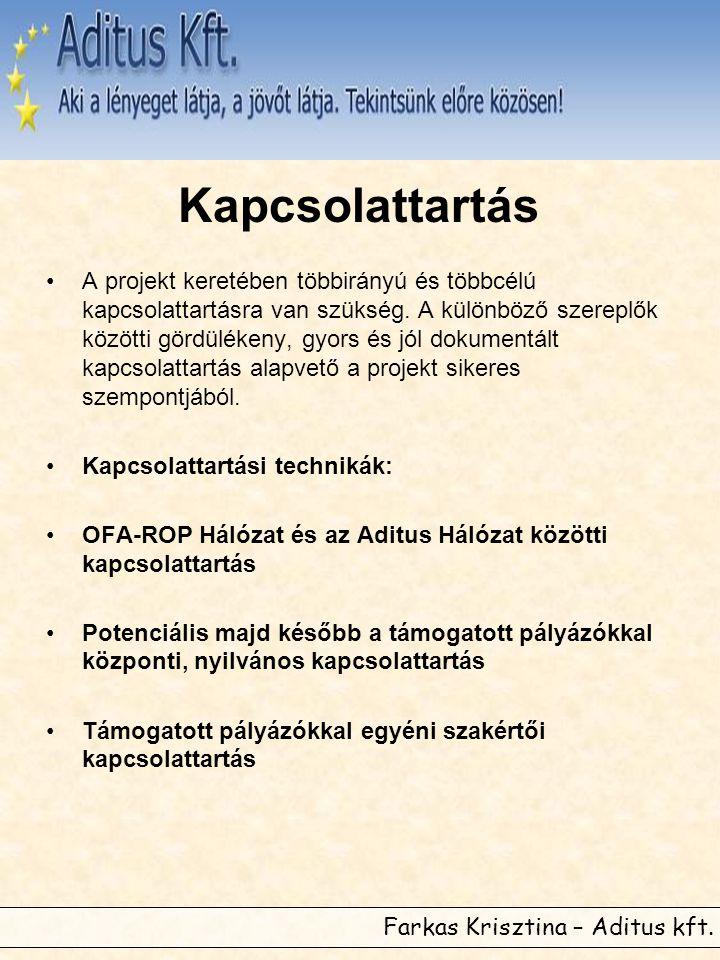 Farkas Krisztina – Aditus kft. Kapcsolattartás •A projekt keretében többirányú és többcélú kapcsolattartásra van szükség. A különböző szereplők között