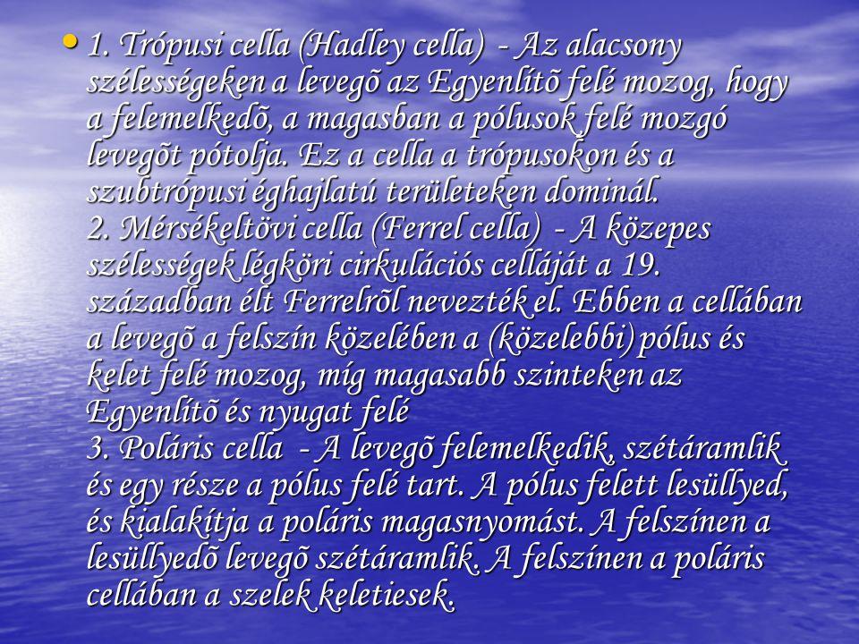• 1. Trópusi cella (Hadley cella) - Az alacsony szélességeken a levegõ az Egyenlítõ felé mozog, hogy a felemelkedõ, a magasban a pólusok felé mozgó le