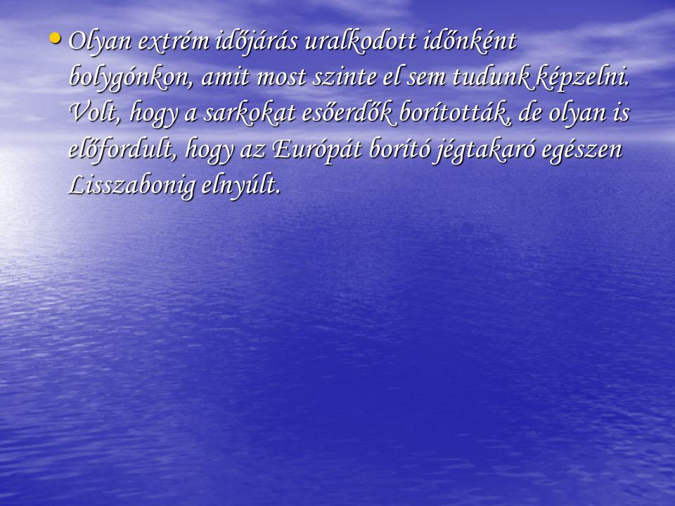 • Olyan extrém időjárás uralkodott időnként bolygónkon, amit most szinte el sem tudunk képzelni. Volt, hogy a sarkokat esőerdők borították, de olyan i