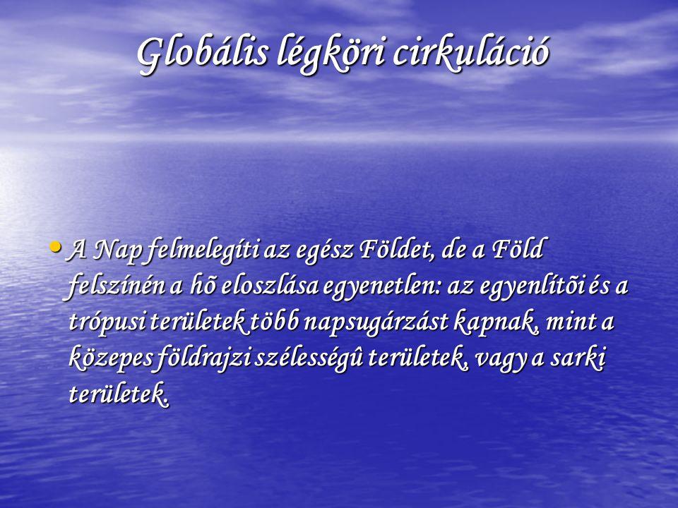 Globális légköri cirkuláció • A Nap felmelegíti az egész Földet, de a Föld felszínén a hõ eloszlása egyenetlen: az egyenlítõi és a trópusi területek t
