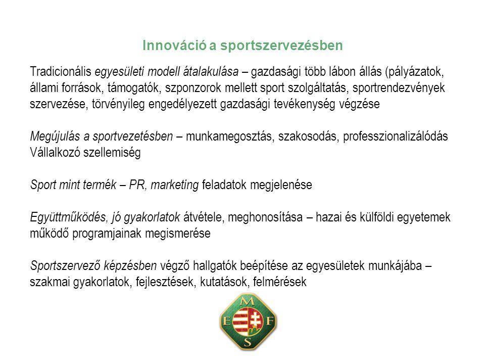 Innováció a sportszervezésben Tradicionális egyesületi modell átalakulása – gazdasági több lábon állás (pályázatok, állami források, támogatók, szponzorok mellett sport szolgáltatás, sportrendezvények szervezése, törvényileg engedélyezett gazdasági tevékenység végzése Megújulás a sportvezetésben – munkamegosztás, szakosodás, professzionalizálódás Vállalkozó szellemiség Sport mint termék – PR, marketing feladatok megjelenése Együttműködés, jó gyakorlatok átvétele, meghonosítása – hazai és külföldi egyetemek működő programjainak megismerése Sportszervező képzésben végző hallgatók beépítése az egyesületek munkájába – szakmai gyakorlatok, fejlesztések, kutatások, felmérések