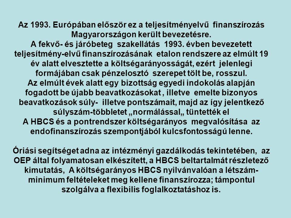 Az 1993.Európában először ez a teljesítményelvű finanszírozás Magyarországon került bevezetésre.