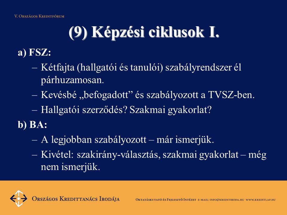 """(9) Képzési ciklusok I. a) FSZ: –Kétfajta (hallgatói és tanulói) szabályrendszer él párhuzamosan. –Kevésbé """"befogadott"""" és szabályozott a TVSZ-ben. –H"""
