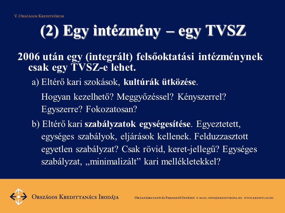 (2) Egy intézmény – egy TVSZ 2006 után egy (integrált) felsőoktatási intézménynek csak egy TVSZ-e lehet.