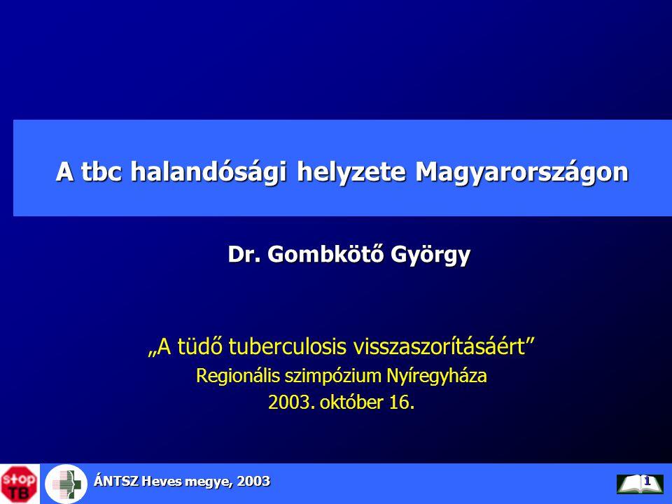 ÁNTSZ Heves megye, 2003 12 TBC halálozás alakulása Európai Unióban, Magyarországon és Heves megyében, 1981-2001 Forrás: WHO HFA adatbázis Heves megyében évi 18 haláleset történt az utóbbi években, mely az Európai Unióhoz képest 15 többlet haláleset (ebből 6 elkerülhető)