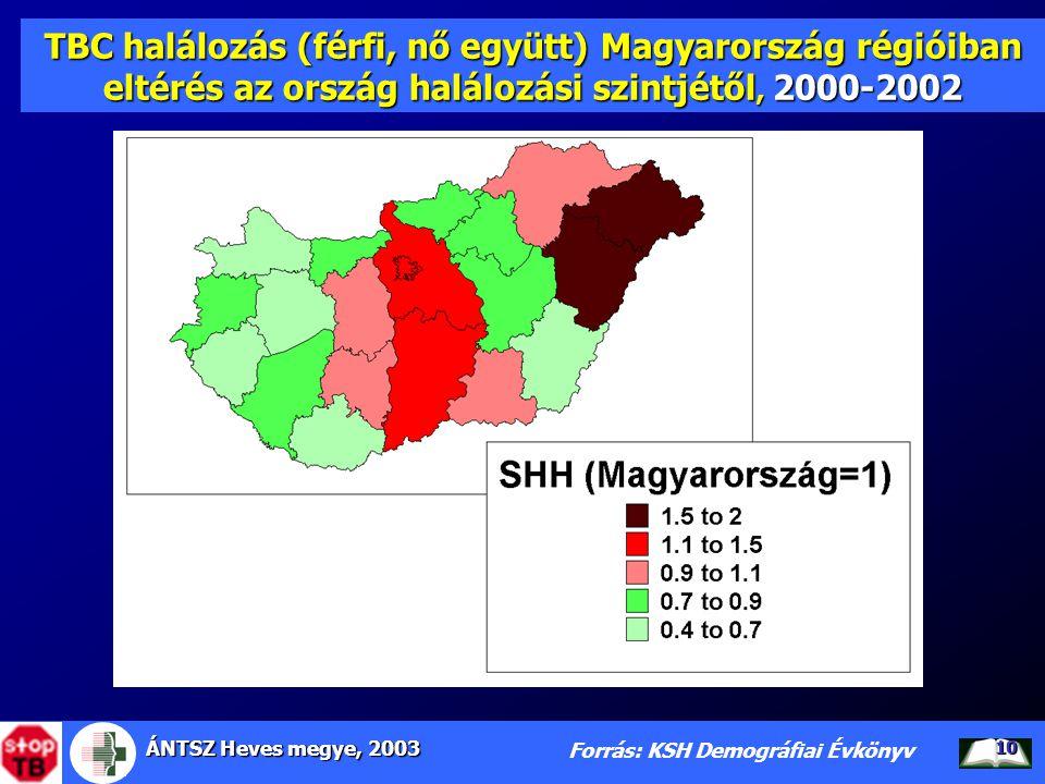 ÁNTSZ Heves megye, 2003 10 TBC halálozás (férfi, nő együtt) Magyarország régióiban eltérés az ország halálozási szintjétől, 2000-2002 Forrás: KSH Demo