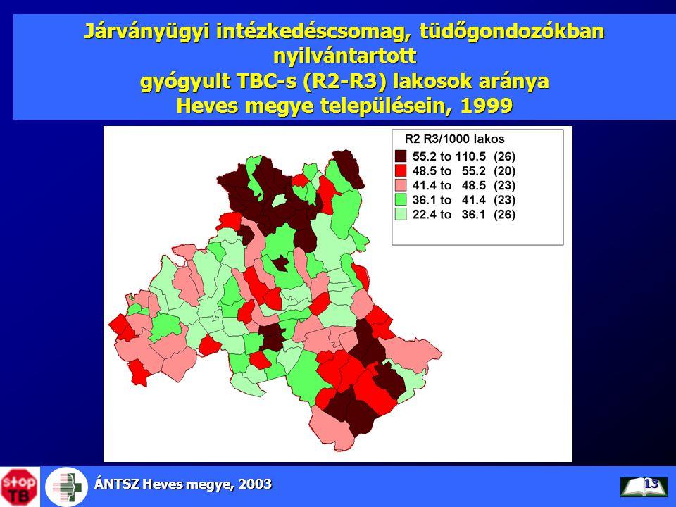 ÁNTSZ Heves megye, 2003 13 Járványügyi intézkedéscsomag, tüdőgondozókban nyilvántartott gyógyult TBC-s (R2-R3) lakosok aránya Heves megye településein