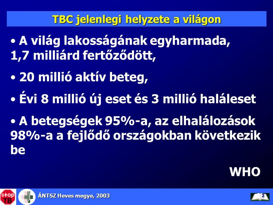 ÁNTSZ Heves megye, 2003 2 TBC jelenlegi helyzete a világon • A világ lakosságának egyharmada, 1,7 milliárd fertőződött, • 20 millió aktív beteg, • Évi
