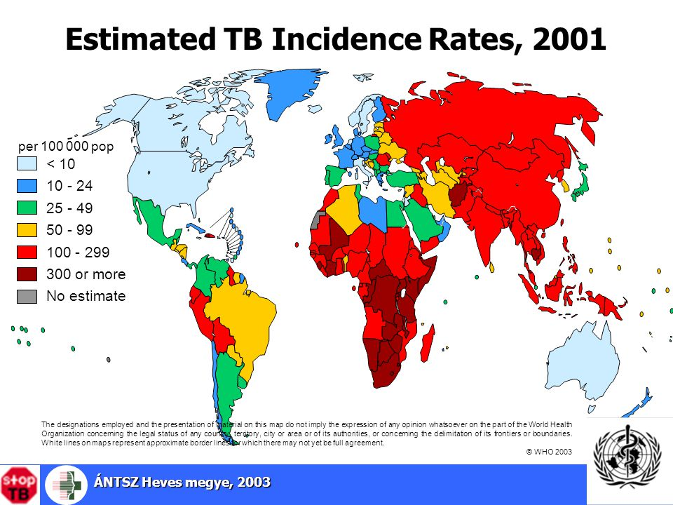 ÁNTSZ Heves megye, 2003 3 Estimated TB Incidence Rates, 2001 25 - 49 50 - 99 100 - 299 < 10 10 - 24 No estimate per 100 000 pop 300 or more The designations employed and the presentation of material on this map do not imply the expression of any opinion whatsoever on the part of the World Health Organization concerning the legal status of any country, territory, city or area or of its authorities, or concerning the delimitation of its frontiers or boundaries.