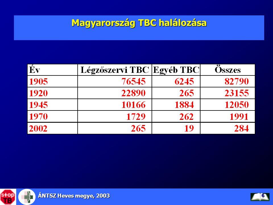 ÁNTSZ Heves megye, 2003 7 TBC halálozás alakulása EU tagországaiban, Magyarországon és Heves megyében, 1980-2001 Forrás: WHO HFA adatbázis FÉRFI, NŐ EGYÜTT