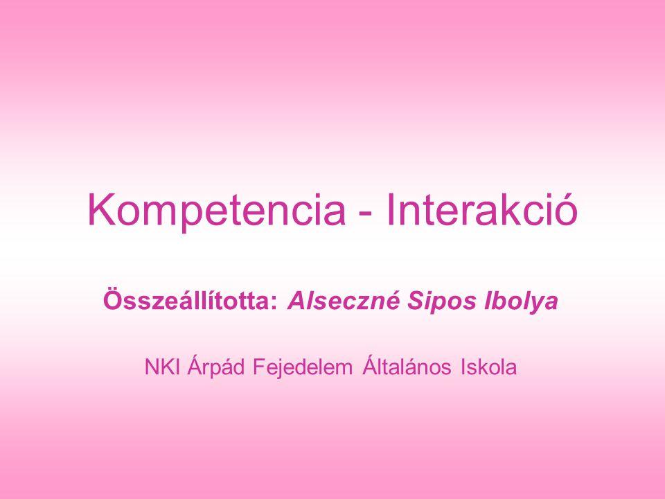 Kompetencia - Interakció Összeállította: Alseczné Sipos Ibolya NKI Árpád Fejedelem Általános Iskola