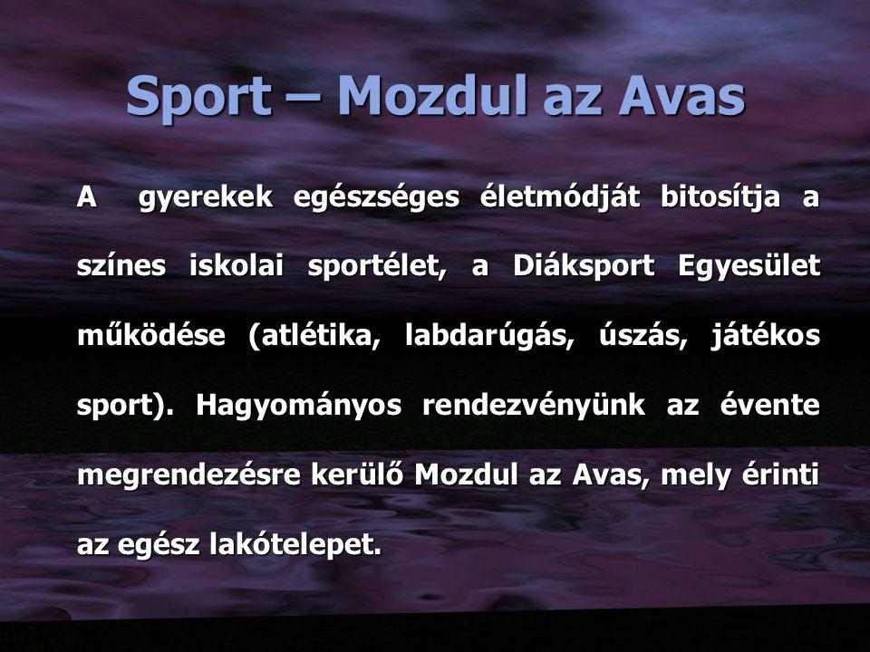 Sport – Mozdul az Avas A gyerekek egészséges életmódját bitosítja a színes iskolai sportélet, a Diáksport Egyesület működése (atlétika, labdarúgás, úszás, játékos sport).