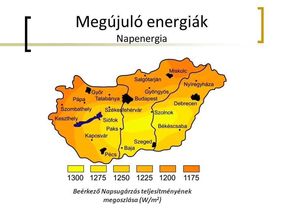 Megújuló energiák Napenergia Beérkező Napsugárzás teljesítményének megoszlása (W/m 2 )