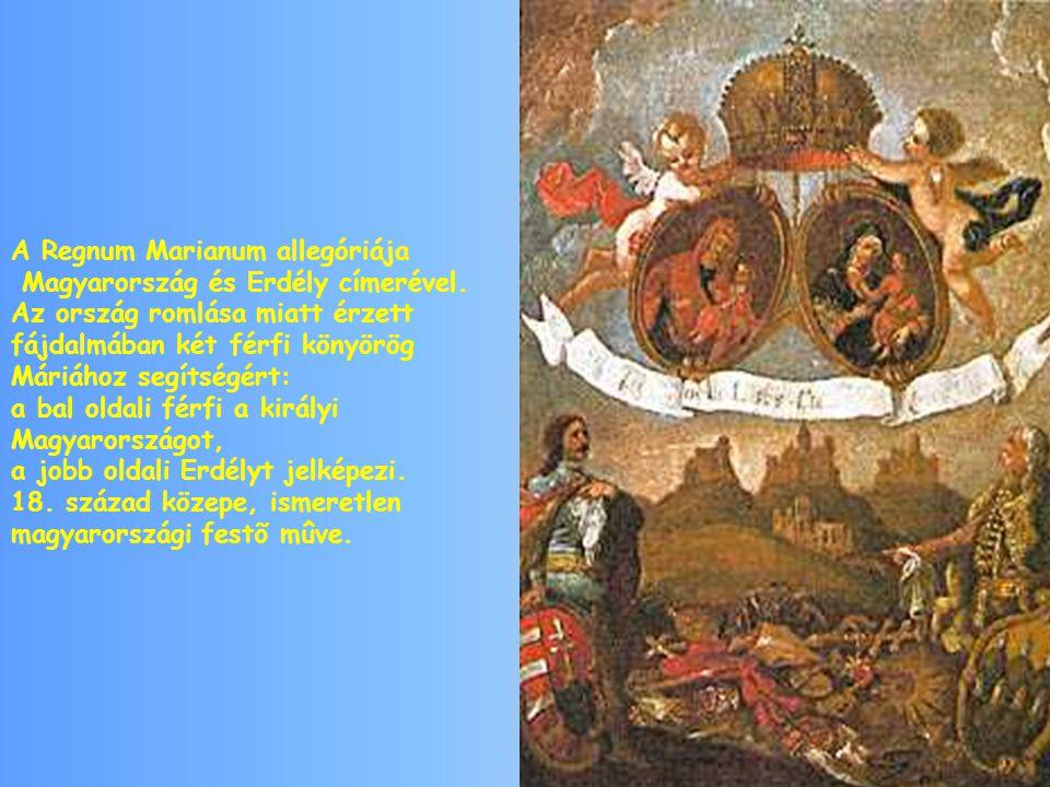 A Regnum Marianum allegóriája Magyarország és Erdély címerével.