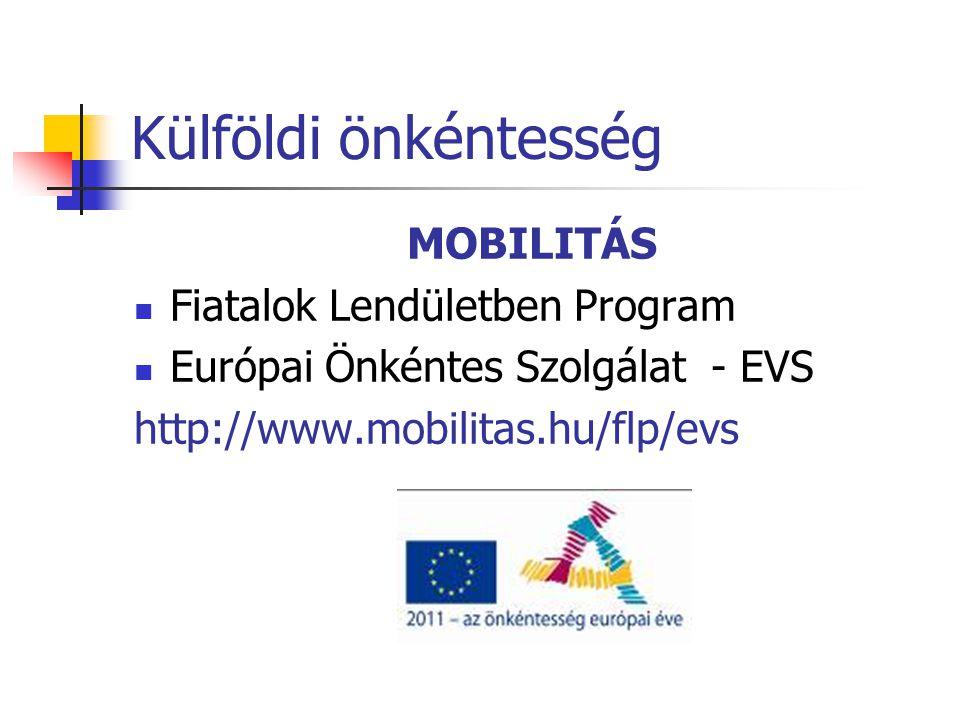 Külföldi önkéntesség MOBILITÁS  Fiatalok Lendületben Program  Európai Önkéntes Szolgálat - EVS http://www.mobilitas.hu/flp/evs