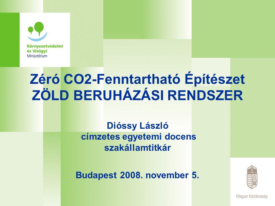 Zéró CO2-Fenntartható Építészet ZÖLD BERUHÁZÁSI RENDSZER Dióssy László címzetes egyetemi docens szakállamtitkár Budapest 2008. november 5.