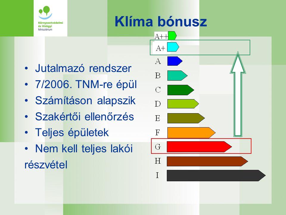 Klíma bónusz •Jutalmazó rendszer •7/2006. TNM-re épül •Számításon alapszik •Szakértői ellenőrzés •Teljes épületek •Nem kell teljes lakói részvétel