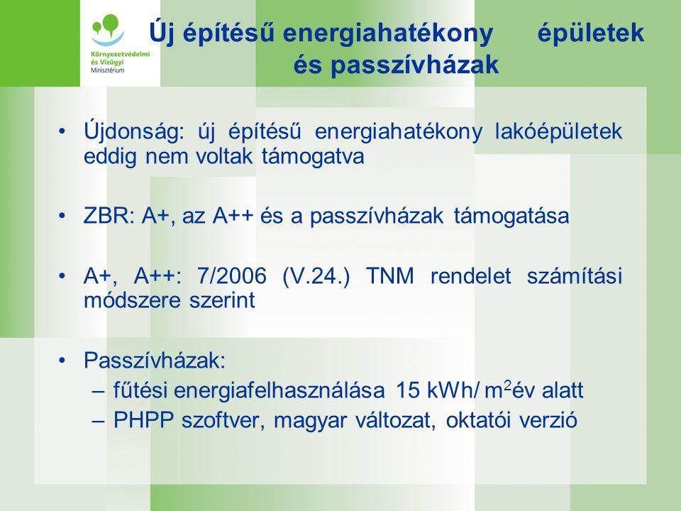 Új építésű energiahatékony épületek és passzívházak •Újdonság: új építésű energiahatékony lakóépületek eddig nem voltak támogatva •ZBR: A+, az A++ és