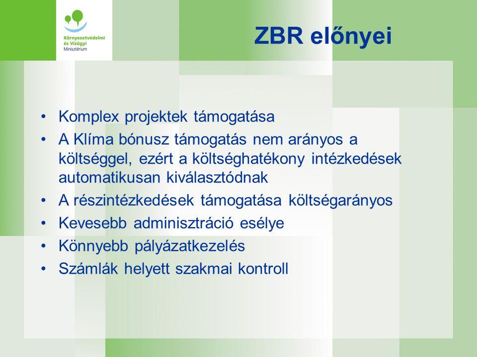 ZBR előnyei •Komplex projektek támogatása •A Klíma bónusz támogatás nem arányos a költséggel, ezért a költséghatékony intézkedések automatikusan kivál
