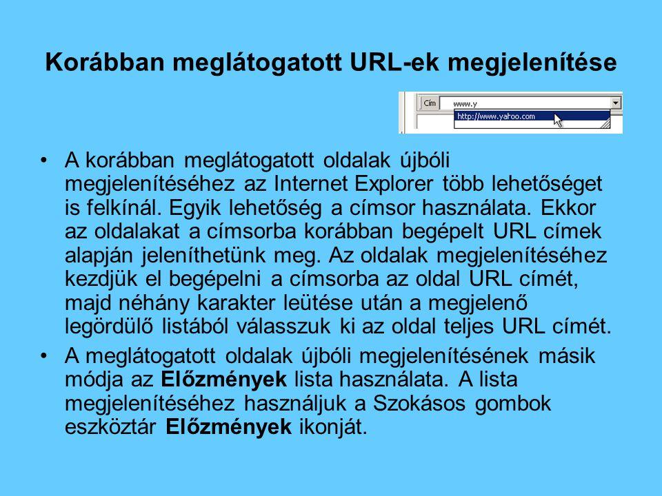 Korábban meglátogatott URL-ek megjelenítése •A korábban meglátogatott oldalak újbóli megjelenítéséhez az Internet Explorer több lehetőséget is felkínál.