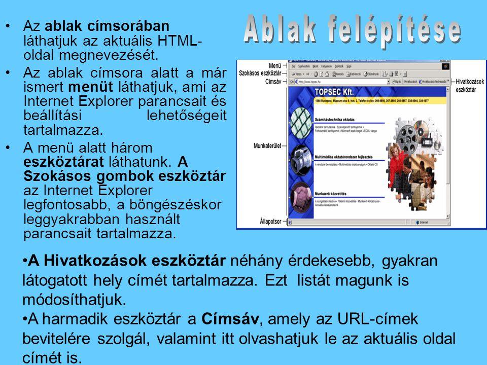 •Az ablak címsorában láthatjuk az aktuális HTML- oldal megnevezését.