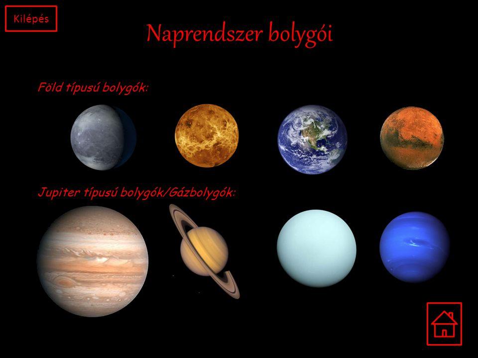 Naprendszer bolygói Föld típusú bolygók: Jupiter típusú bolygók/Gázbolygók: Kilépés