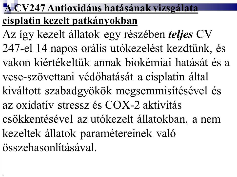 A CV247 Antioxidáns hatásának vizsgálata patkányokban A kemoterápiában használt cisplatinnak jólismert szövetkárosító hatása van a platina oxidatív ha