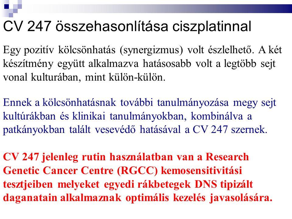 Patkány vesemetszetek immunhisztológiája COX-2 antitesttel, szinerősséggel kimutatván COX-2 aktivitást: KONTROL CISPLATIN KEZELT CISPLATIN+CV247