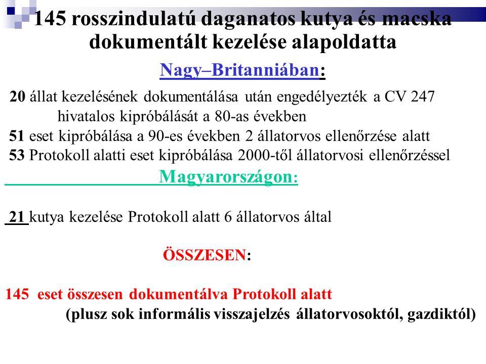 145 rosszindulatú daganatos kutya és macska dokumentált kezelése alapoldatta Nagy–Britanniában: 20 állat kezelésének dokumentálása után engedélyezték a CV 247 hivatalos kipróbálását a 80-as években 51 eset kipróbálása a 90-es években 2 állatorvos ellenőrzése alatt 53 Protokoll alatti eset kipróbálása 2000-től állatorvosi ellenőrzéssel Magyarországon : 21 kutya kezelése Protokoll alatt 6 állatorvos által ÖSSZESEN: 145 eset összesen dokumentálva Protokoll alatt (plusz sok informális visszajelzés állatorvosoktól, gazdiktól)