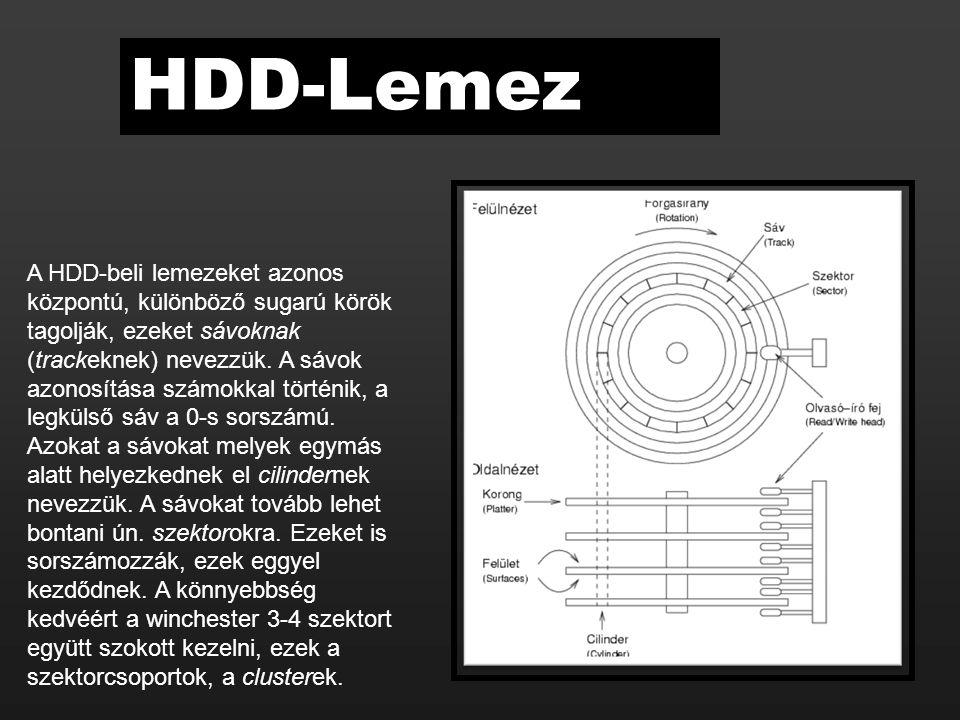 A HDD-beli lemezeket azonos központú, különböző sugarú körök tagolják, ezeket sávoknak (trackeknek) nevezzük. A sávok azonosítása számokkal történik,