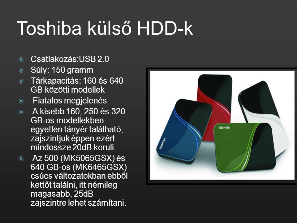 Toshiba külső HDD-k  Csatlakozás:USB 2.0  Súly: 150 gramm  Tárkapacitás: 160 és 640 GB közötti modellek  Fiatalos megjelenés  A kisebb 160, 250 é