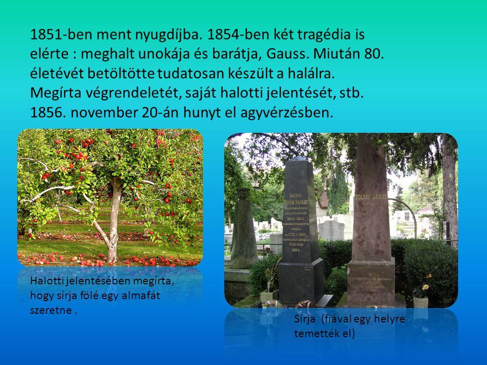 1851-ben ment nyugdíjba. 1854-ben két tragédia is elérte : meghalt unokája és barátja, Gauss. Miután 80. életévét betöltötte tudatosan készült a halál