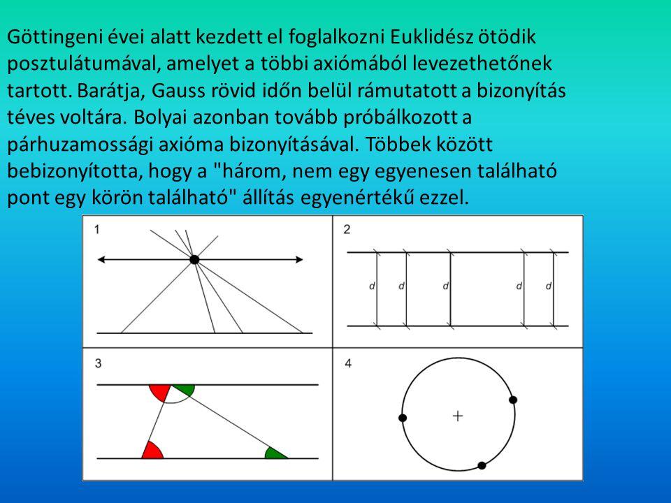 Göttingeni évei alatt kezdett el foglalkozni Euklidész ötödik posztulátumával, amelyet a többi axiómából levezethetőnek tartott. Barátja, Gauss rövid