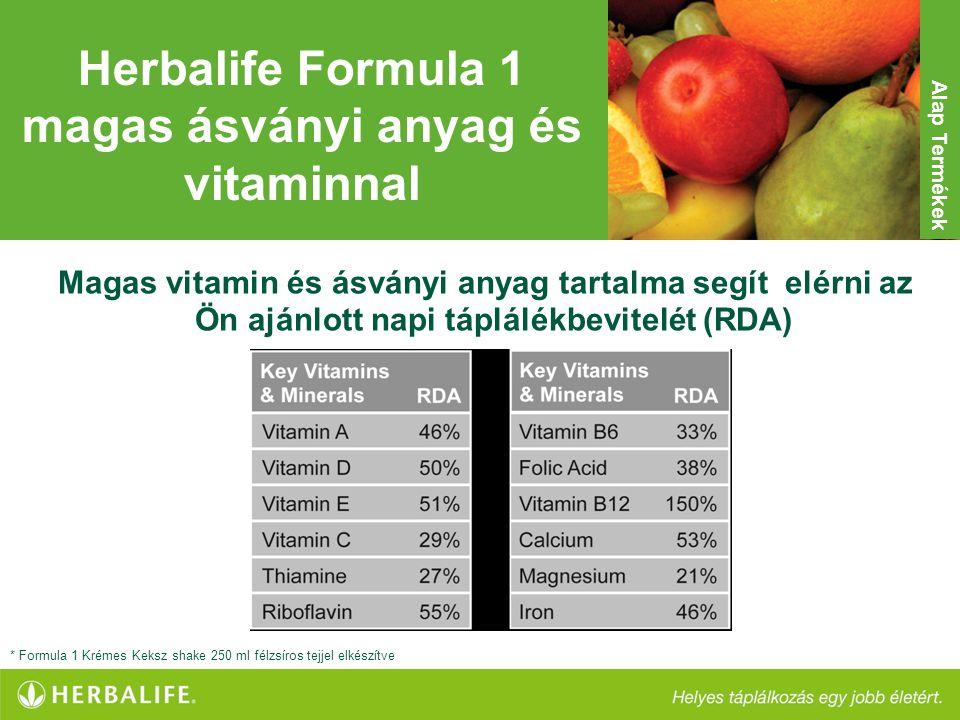 Herbalife Formula 1 magas ásványi anyag és vitaminnal Magas vitamin és ásványi anyag tartalma segít elérni az Ön ajánlott napi táplálékbevitelét (RDA)