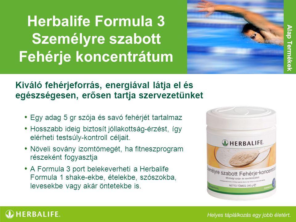 Herbalife Formula 3 Személyre szabott Fehérje koncentrátum • Egy adag 5 gr szója és savó fehérjét tartalmaz • Hosszabb ideig biztosít jóllakottság-érz