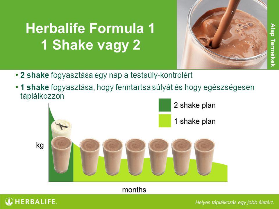 • 2 shake fogyasztása egy nap a testsúly-kontrolért • 1 shake fogyasztása, hogy fenntartsa súlyát és hogy egészségesen táplálkozzon Herbalife Formula