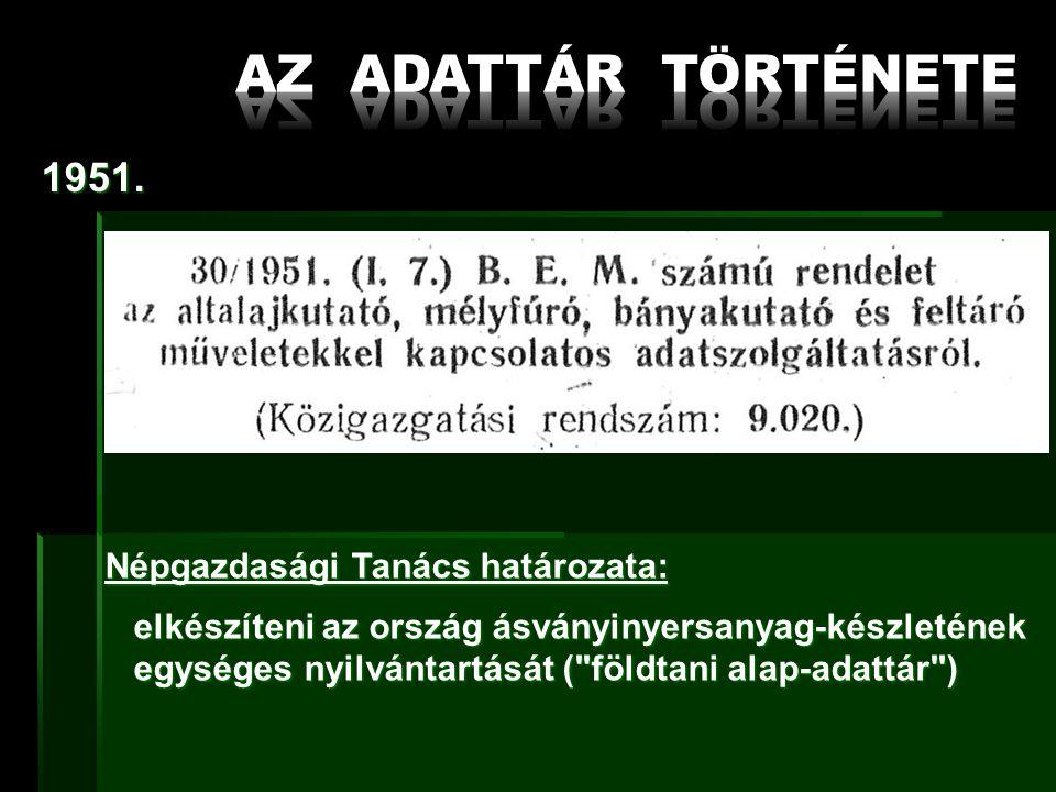 1952.MÁFI Alapadattári Osztály: ásványvagyon- és adatnyilvántartás és adatnyilvántartás 1958.